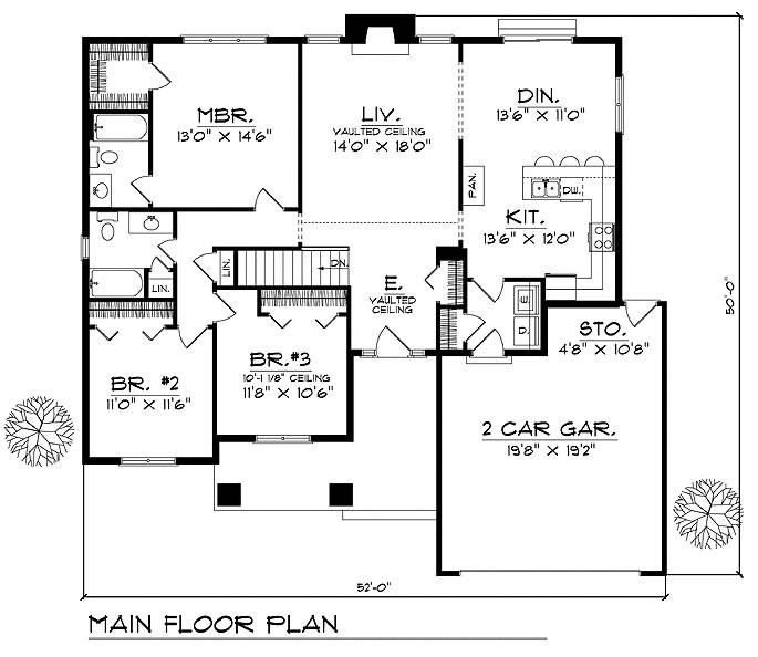 Caribbean House Plans, Affordable 3 Bedrooms, 2 Baths